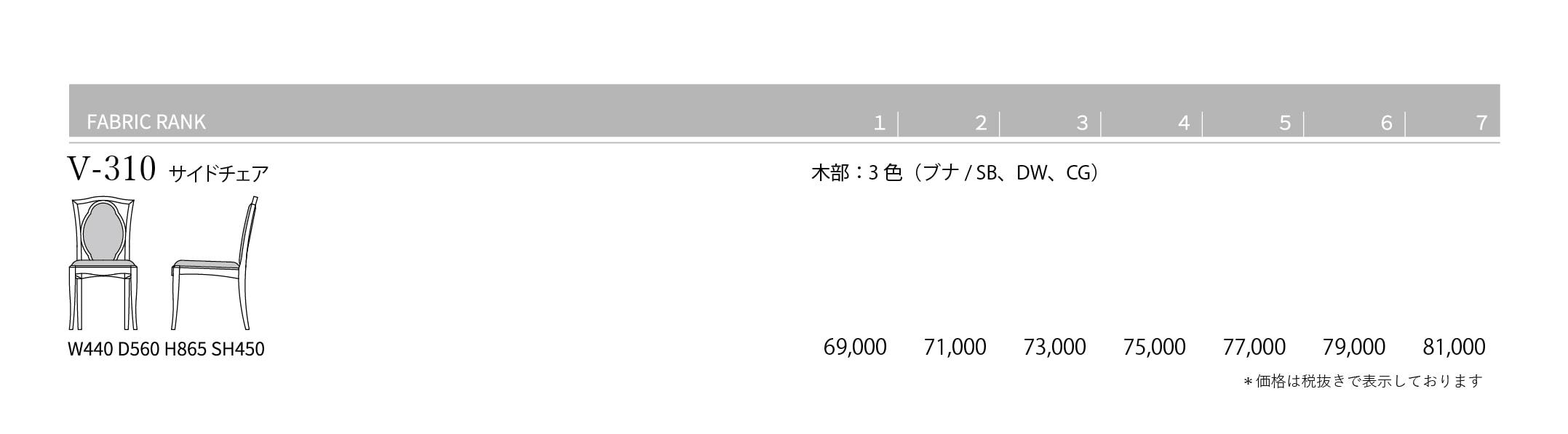 V-310 Price List