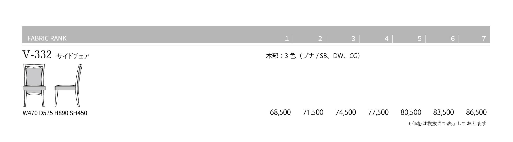 V-332 Price List