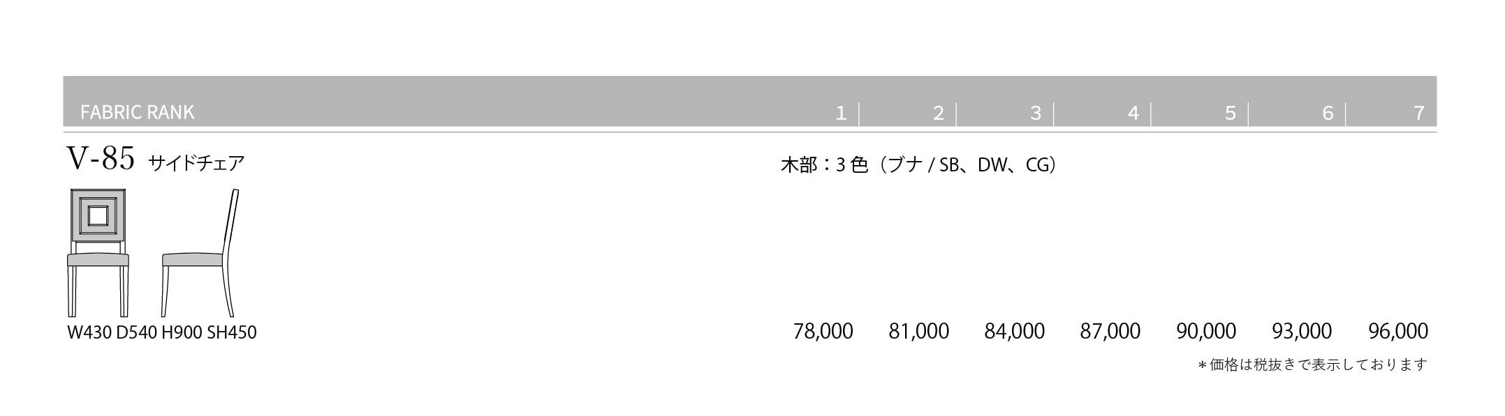 V-85 Price List