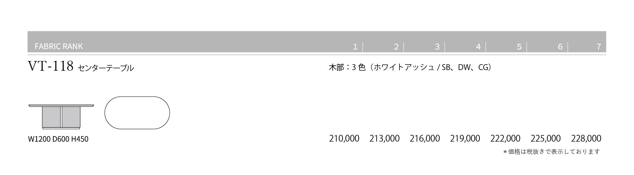 VT-118 Price List